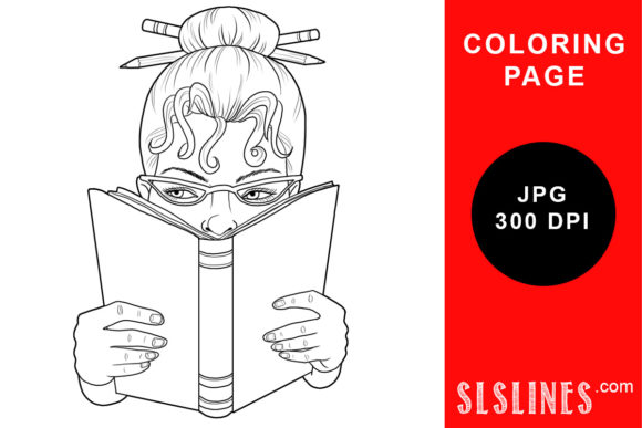 Print on Demand: Woman Reading a Book Coloring Page Graphic Coloring Pages & Books Adults By SLS Lines