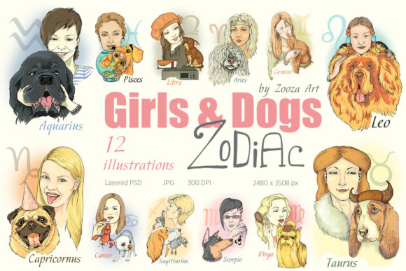Print on Demand: Zodiac Illustrations with Dogs and Girls Graphic Illustrations By Zooza Art
