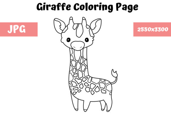 Print on Demand: Giraffe Coloring Page for Kids Graphic Coloring Pages & Books Kids By MyBeautifulFiles - Image 1