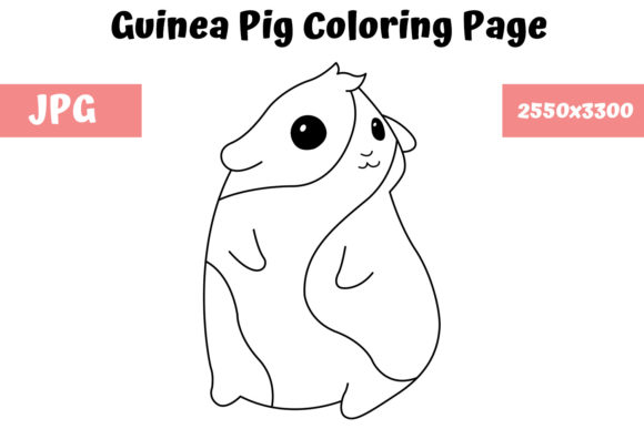Print on Demand: Guinea Pig Coloring Page for Kids Graphic Coloring Pages & Books Kids By MyBeautifulFiles