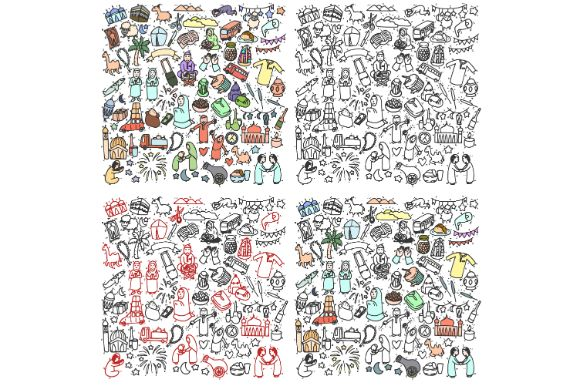 Download Free Happy Eid Mubarak Doodle Set Cartoon Graphic By Firdausm601 for Cricut Explore, Silhouette and other cutting machines.