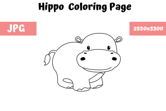 Print on Demand: Hippo Coloring Page for Kids Graphic Coloring Pages & Books Kids By MyBeautifulFiles - Image 1