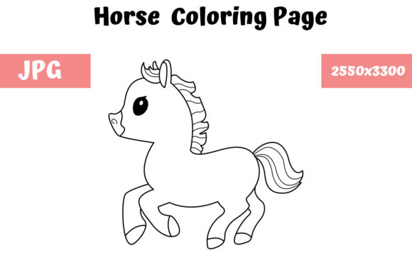 Print on Demand: Horse Coloring Book Page for Kids Graphic Coloring Pages & Books Kids By MyBeautifulFiles