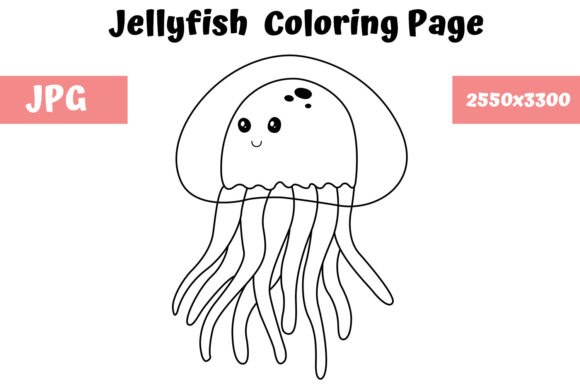 Print on Demand: Jellyfish Coloring Book Page for Kids Graphic Coloring Pages & Books Kids By MyBeautifulFiles