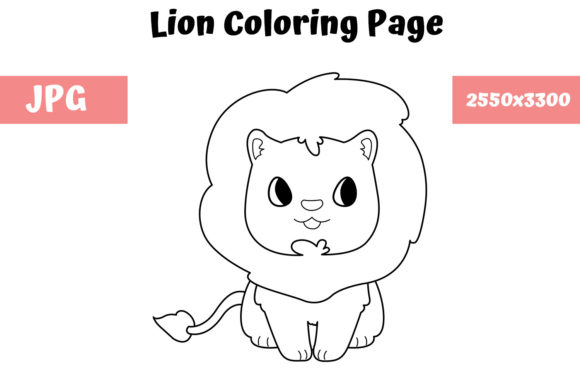 Print on Demand: Lion Coloring Book Page for Kids Graphic Coloring Pages & Books Kids By MyBeautifulFiles