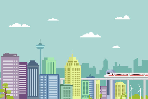 Download Free Modern Capital City Illustration Design Graphic By Sabavector for Cricut Explore, Silhouette and other cutting machines.