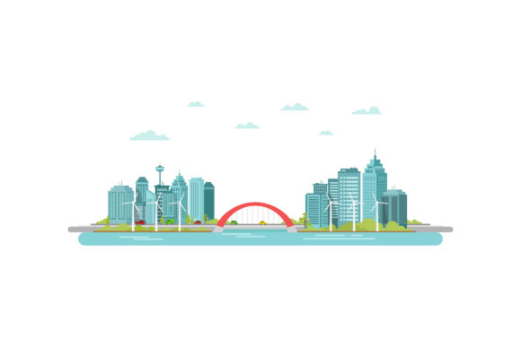 Download Free Smart City Concept Modern Graphic By Sabavector Creative Fabrica for Cricut Explore, Silhouette and other cutting machines.