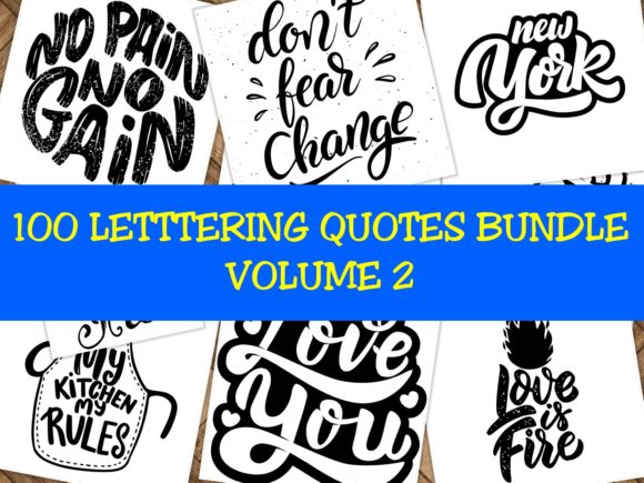 Print on Demand: 100 Lettering Quotes Bundle Vol 2 Graphic Crafts By ermannofficial