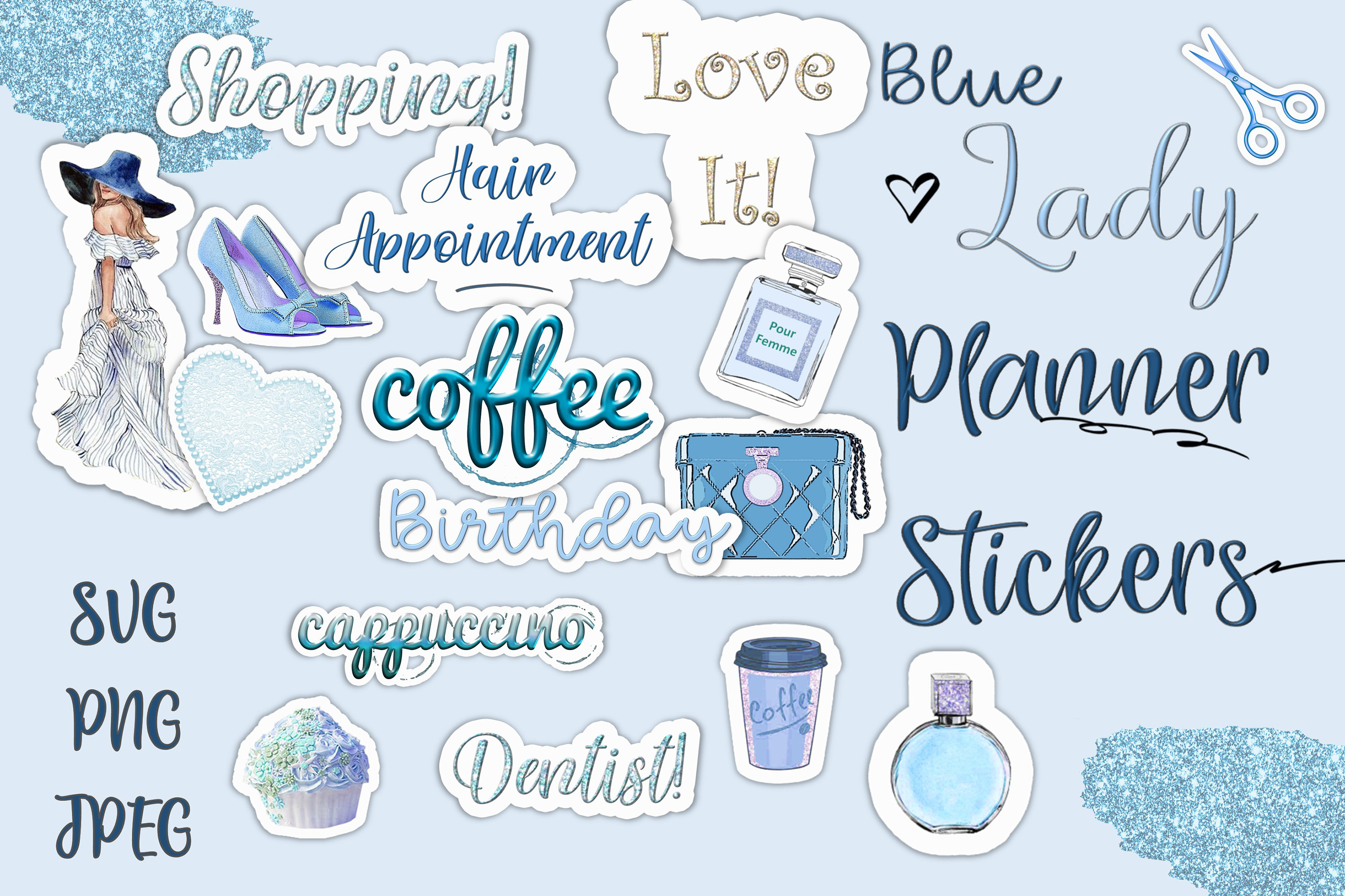 24 Planner Stickers SVG, PNG, EPS & DXF by Free SVG File