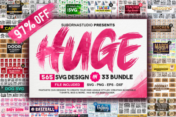 Print on Demand: 565 Design the Huge 33 Bundles Grafik Plotterdateien von SubornaStudio