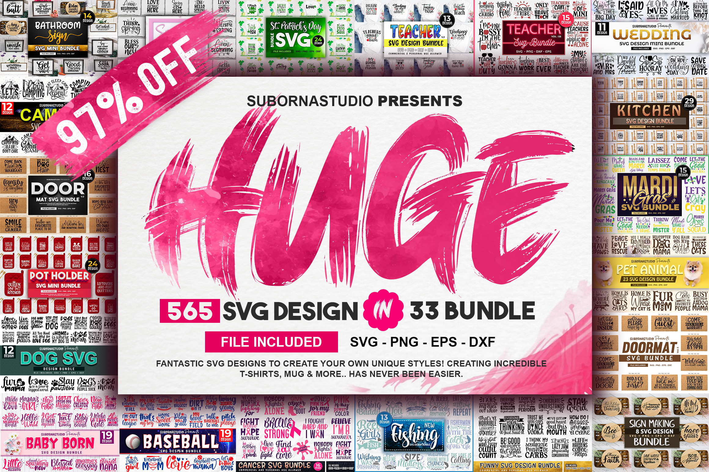 Download Free 565 Design The Huge 33 Bundles Graphic By Subornastudio for Cricut Explore, Silhouette and other cutting machines.