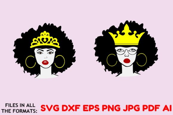 Download Free Afro Queen Cut File Vector Graphic Graphic By Masterfont for Cricut Explore, Silhouette and other cutting machines.