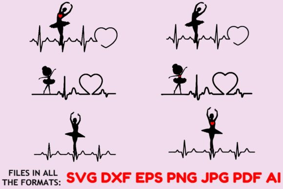 Download Free Ballerina Ekg Vector Graphic Ballet Graphic By Masterfont for Cricut Explore, Silhouette and other cutting machines.