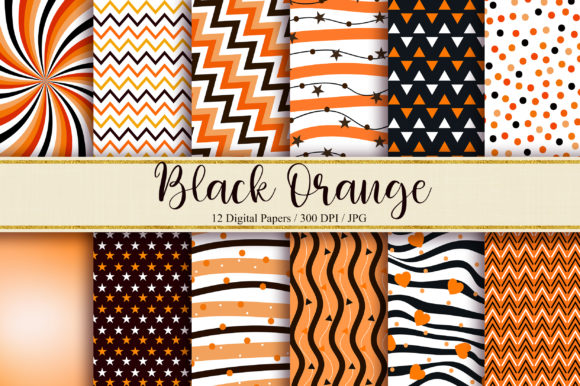 Black Orange Digital Papers Graphic Backgrounds By PinkPearly