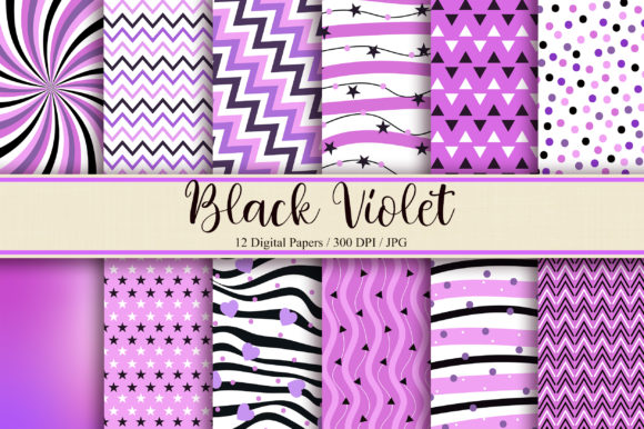 Download Free Black Violet Digital Papers Graphic By Pinkpearly Creative Fabrica for Cricut Explore, Silhouette and other cutting machines.