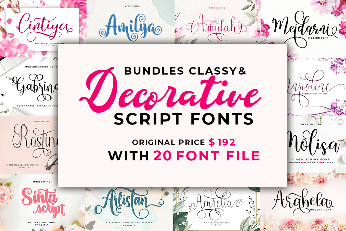 Download Free The Classy And Decorative Script Font Bundle Bundle Creative for Cricut Explore, Silhouette and other cutting machines.