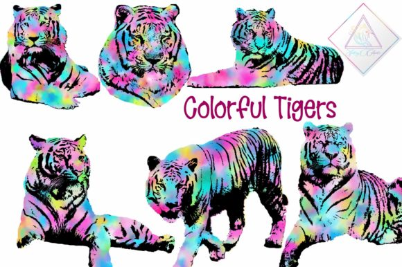 Print on Demand: Colorful Tiger Clipart Graphic Illustrations By fantasycliparts