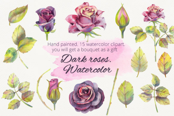 Print on Demand: Dark Roses. Watercolor Clipart Graphic Illustrations By Natika_art