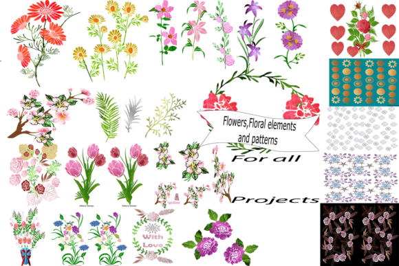 Print on Demand: Flowers, Floral Elements and Patterns  By arts4busykids