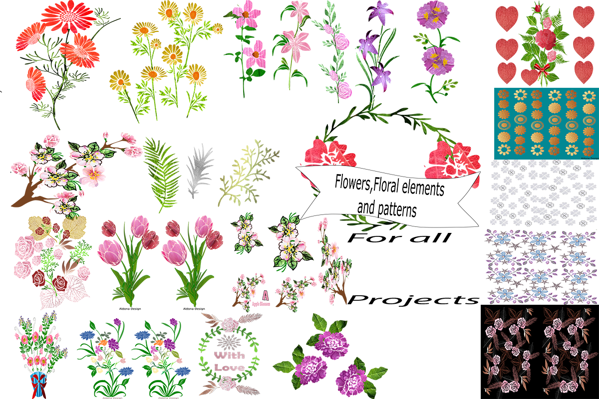 Flowers, Floral Elements and Patterns Free Download