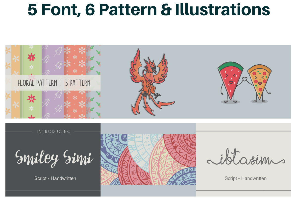 Fonts, Patterns & Illustrations Free Download