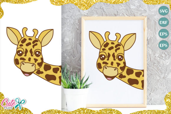 Giraffe Face Cut File for Crafter Graphic Illustrations By Cute files