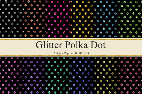 Glitter Polka Dot Digital Papers Graphic Backgrounds By PinkPearly