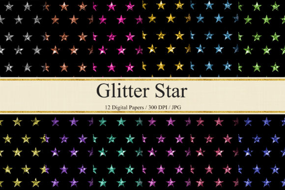 Download Free Glitter Star Background Digital Papers Graphic By Pinkpearly for Cricut Explore, Silhouette and other cutting machines.
