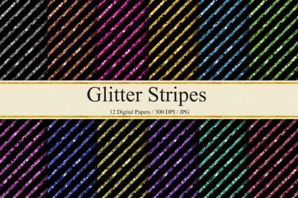 Glitter Stripes Digital Papers Graphic Backgrounds By PinkPearly