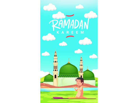 Download Free Greeting Card Ramadan Kareem Vector Kids Graphic By 1tokosepatu for Cricut Explore, Silhouette and other cutting machines.