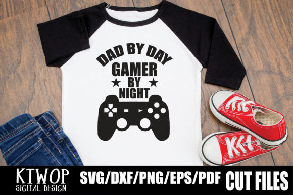 Download Free Dad By Day Gamer By Night Graphic By Ktwop Creative Fabrica for Cricut Explore, Silhouette and other cutting machines.