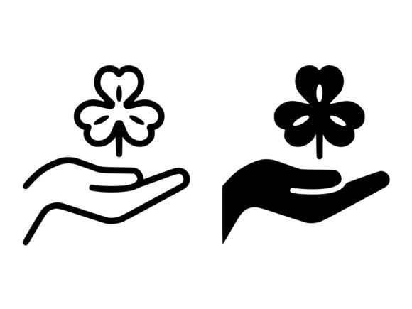 Download Free Hand Hold Lucky Clover Line And Glyph Ic Graphic By Anrasoft for Cricut Explore, Silhouette and other cutting machines.