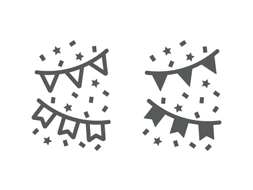 Download Free Holiday Flags Garland Line And Glyph Graphic By Anrasoft for Cricut Explore, Silhouette and other cutting machines.