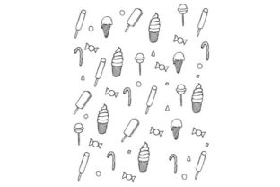Print on Demand: Ice Cream and Candy Doodle Vector Art Graphic Icons By firdausm601