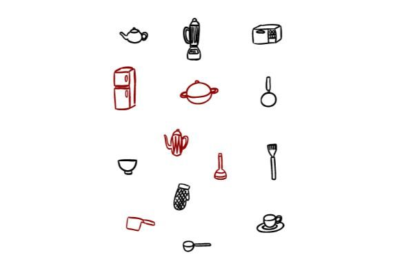 Download Free Kitchen Items Doodle Vector Art 1 Graphic By Firdausm601 for Cricut Explore, Silhouette and other cutting machines.