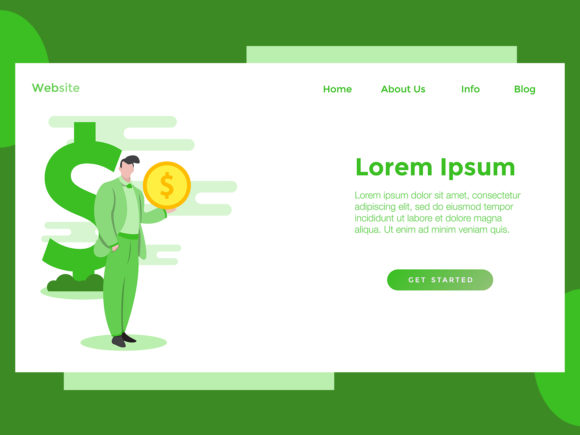 Download Free Landing Page Finance Man Coin Green Graphic By Archshape for Cricut Explore, Silhouette and other cutting machines.