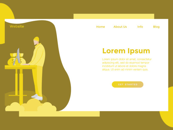 Download Free Landing Page Finance Man Yellow Gold Graphic By Archshape for Cricut Explore, Silhouette and other cutting machines.