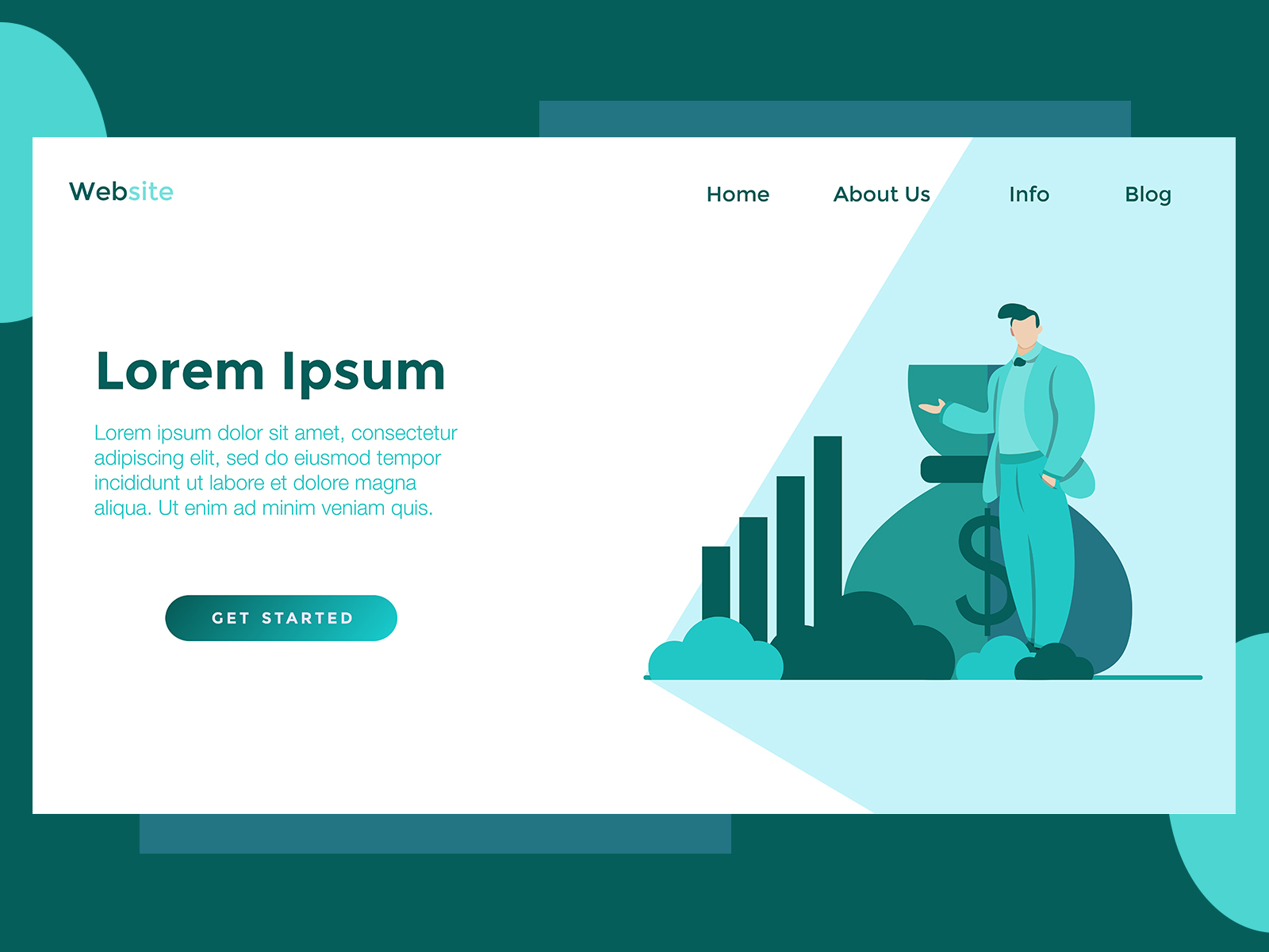 Download Free Landing Page Finance Standing Man Green Graphic By Archshape for Cricut Explore, Silhouette and other cutting machines.