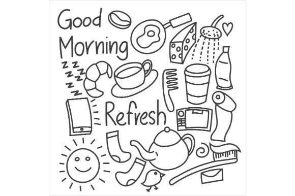 Print on Demand: Morning Doodles, Set, Black and White Graphic Icons By firdausm601
