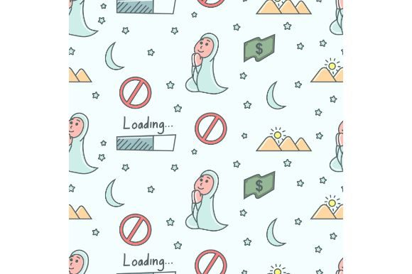 Download Free Nuslim Girl Seamless Pattern Graphic By Firdausm601 Creative for Cricut Explore, Silhouette and other cutting machines.