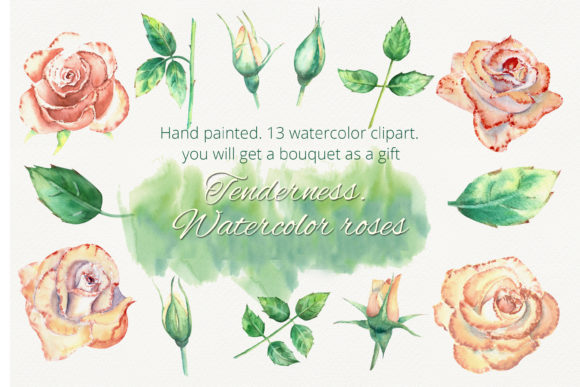 Print on Demand: Peach Roses. Watercolor Clipart Graphic Illustrations By Natika_art - Image 1