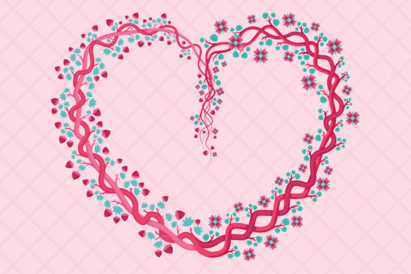 Download Free Pink Floral Heart Shaped With Feminine Graphic By for Cricut Explore, Silhouette and other cutting machines.