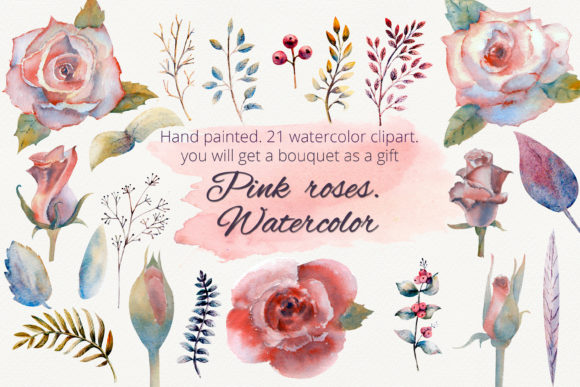 Print on Demand: Pink Roses. Watercolor Clipart Graphic Illustrations By Natika_art - Image 1