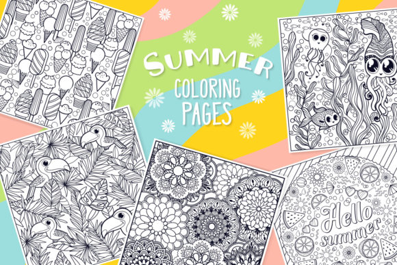 Print on Demand: Summer Coloring Bundle - 10 Vectors Graphic Coloring Pages & Books Kids By tatiana.cociorva