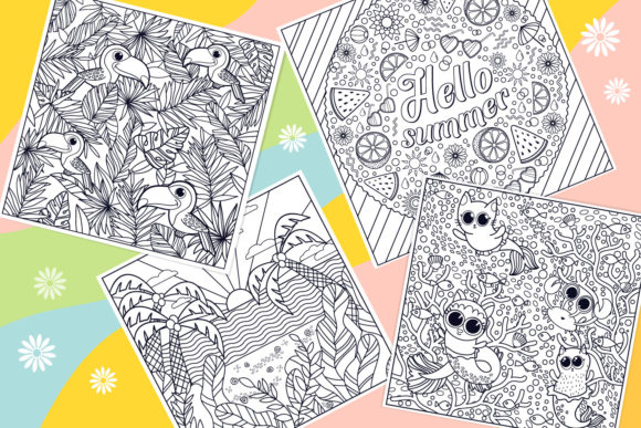 Print on Demand: Summer Coloring Bundle  Graphic Coloring Pages & Books Kids By tatiana.cociorva - Image 3