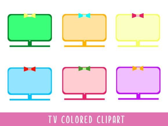 TV Colored ClipArt Graphic Illustrations By Happy Kiddos