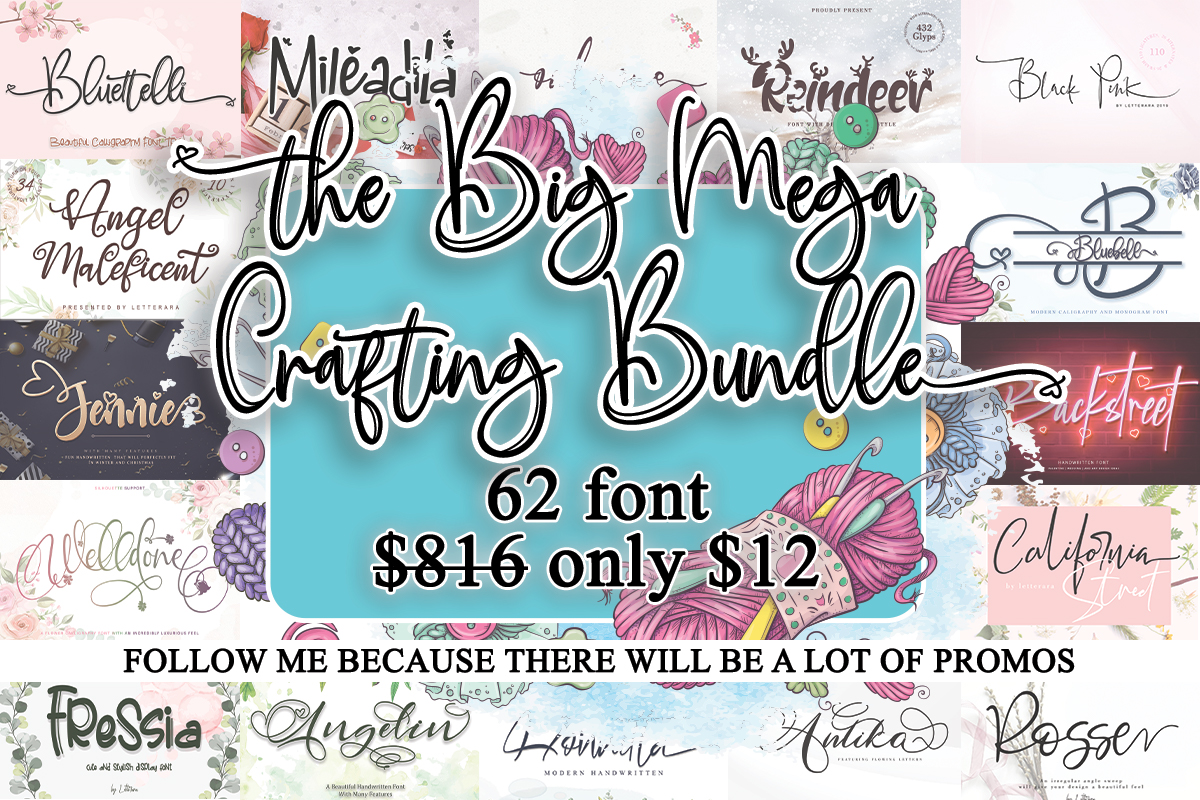 Download Free The Big Mega Crafting Bundle Bundle Creative Fabrica for Cricut Explore, Silhouette and other cutting machines.
