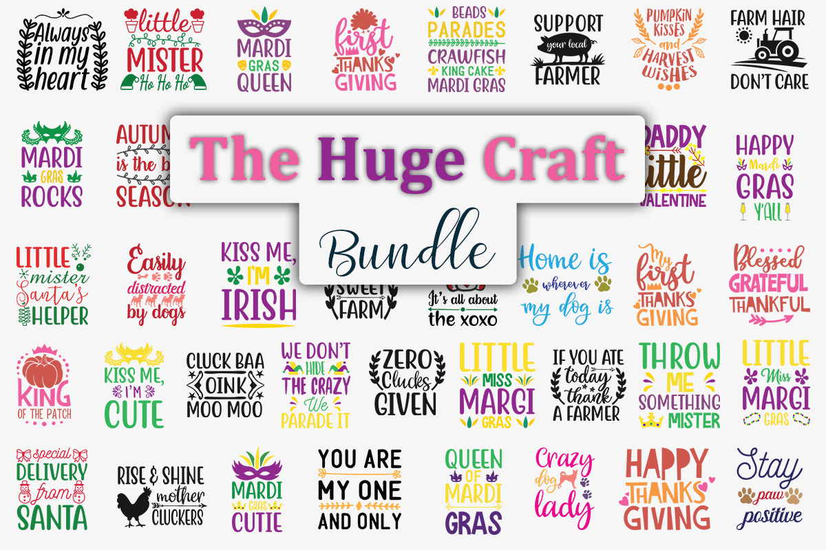 Download Free The Huge Craft Bundle Bundle Creative Fabrica for Cricut Explore, Silhouette and other cutting machines.