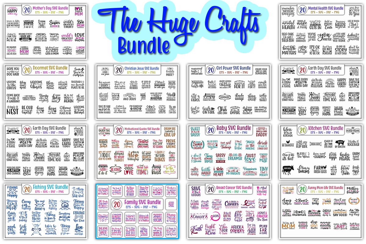 Download Free The Huge Crafts Bundle Bundle Creative Fabrica for Cricut Explore, Silhouette and other cutting machines.