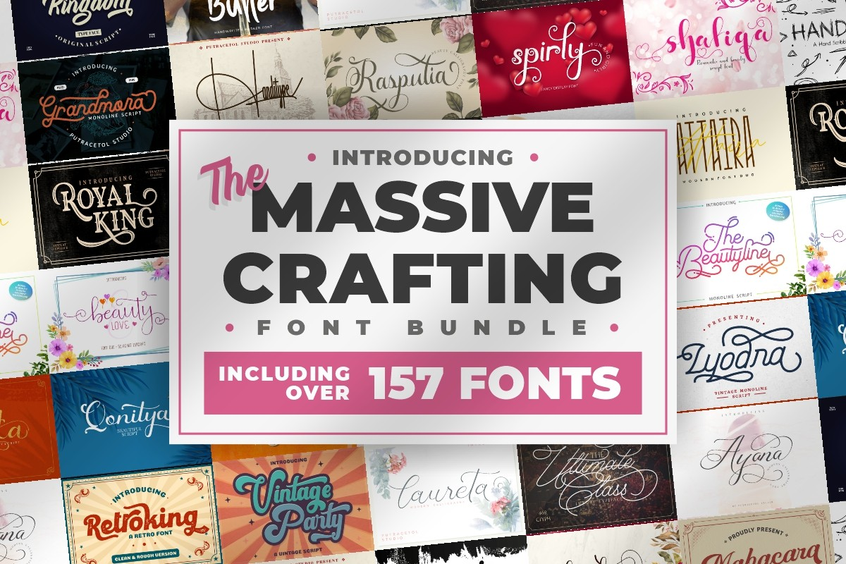 Download Free The Massive Crafting Font Bundle Bundle Creative Fabrica for Cricut Explore, Silhouette and other cutting machines.